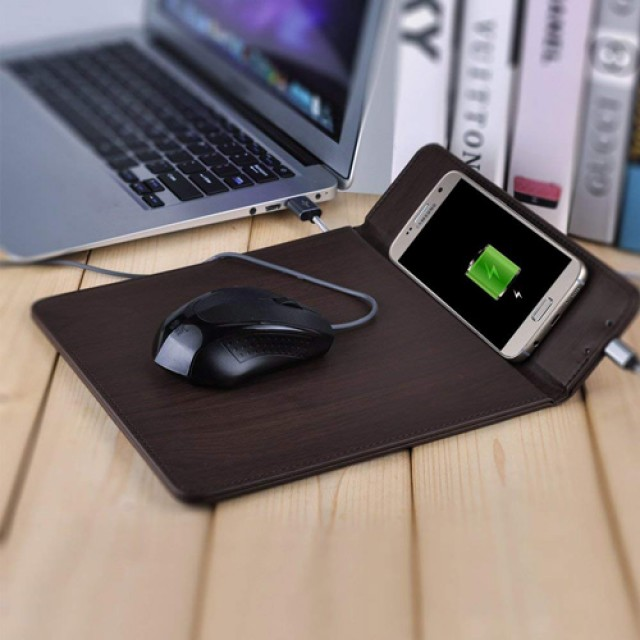 Mouse Pad Built in Wireless Charger Leather Mousepad Qi Charging Pad