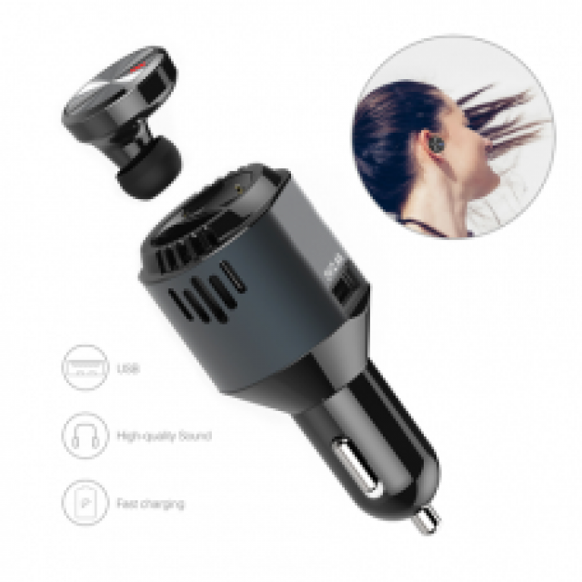 3×1 Multi-functional Car Charger with Wireless Earbud earphone Air Purifier Oxygen
