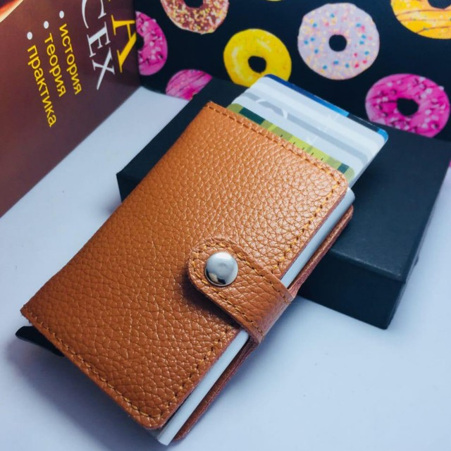 leather Wallet | Automatic Slide Card Holder - Brown