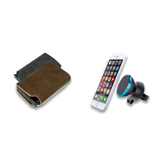 2 Double Dutch Leather Wallet + Mobile Holder Magnet