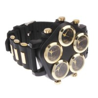 unique stylish large 5 dial plate quartz analogue wrist watch